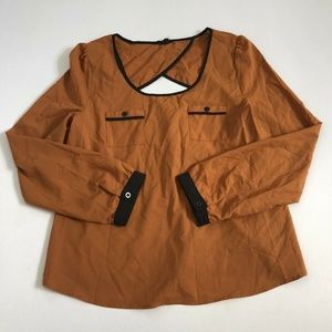 Edge Women's Brown Short Sleeved Boat Neck Top M